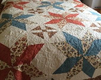 Handmade Big Star Block Quilt, Queen Size.
