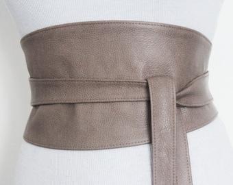 SALE Taupe Wide Leather Belt   Obi Corset Belt   Leather obi belt   Plus size belts