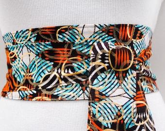 Orange Ankara Obi Belt l African Print Obi Corset Belt | Wax Print Belt | Wide Belt| Corset Belt |Plus size belts| African Print