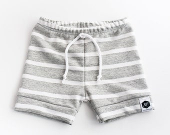 Gray and White Striped Baby and Toddler Shorts