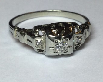 Vintage Deco 18k White Gold Diamond Engagement or Right Hand Ring