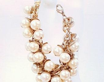 Vintage Faux Pearl Bangle Bracelet