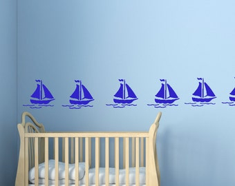 Wall Decals Stickers Boats x 20 - 1 to 20 inches high Bedroom Nursery Wall Large Wall Art