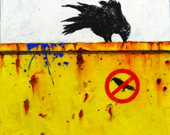 DUMPSTER DIVING IV: The  Rebel- Whimsical Raven Original Painting