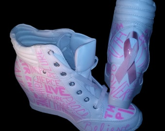Breast Cancer Sneakers / Breast Cancer Wedge Sneakers / Hand Painted Sneakers / White & Pink Wedge Sneakers / Survivor Sneakers / Decoupage