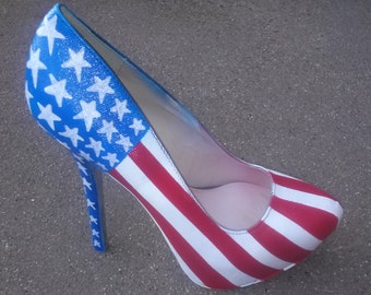Patriotic Heels / American Flag Heels / 4th Of July Pumps / Red, White & Blue Heels / Hand Painted Shoes / American Heels / Women's Heels