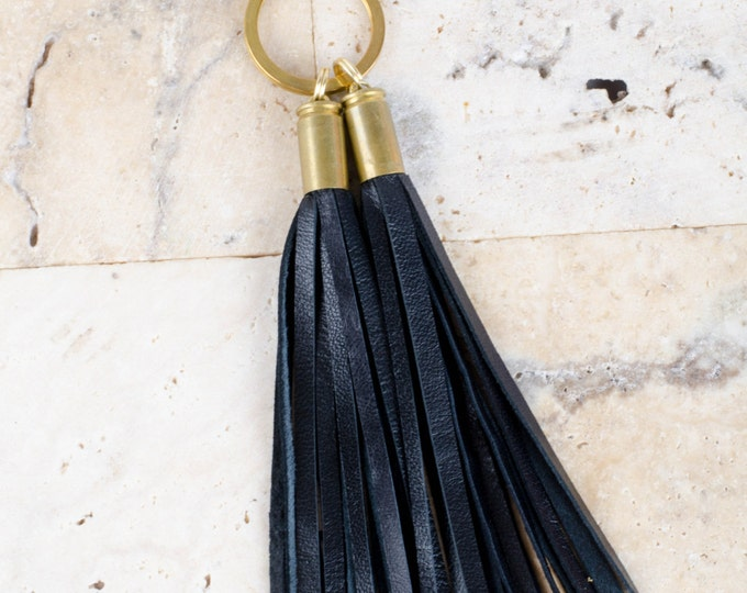 Authentic Black Leather Tassels Encased in gold 9MM bullet shell keyring