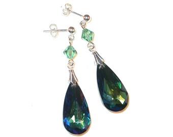 BERMUDA BLUE Crystal Earrings 24mm x 12mm Teardrop Sterling Silver Swarovski Elements