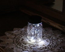 Set of 6 Mason Jar Solar Lid Twinkling Angel Lights Firefly Lights