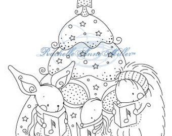 "Stampavie Clear Stamp ""Singing Tree""/Christmas stamp/Rachelle Ann Miller"