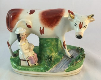 Staffordshire Milking Cow And Girl