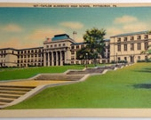 Taylor Allderdice High School Campus, Pittsburgh PA, Squirrel Hill, Vintage Linen Postcard 1940's