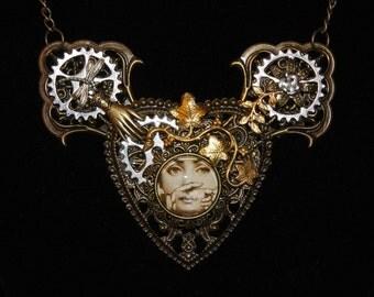 Steampunk Fornasetti Pendant Necklace