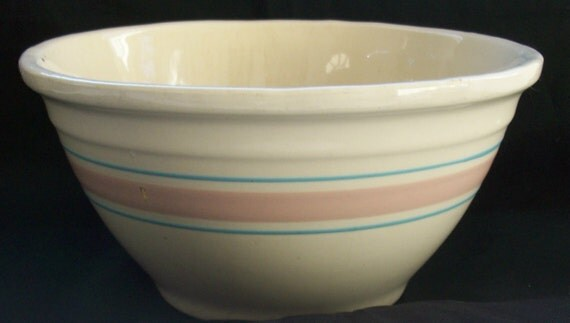 Large Vintage Mccoy Pottery Banded Pink Blue 10 Inch Mixing