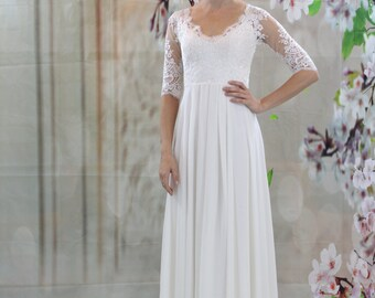 Simple lace, half sleeves chiffon dress, beach wedding dress, open back bridal gown