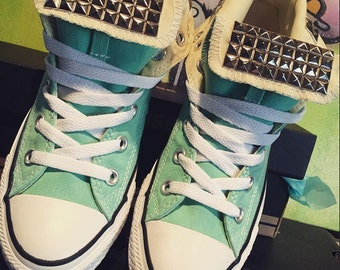 Mint Green Chuck Taylor Studded Converse; ALL SIZES & COLORS! Custom Shoes; Wedding Shoes; Converse High Tops; Dope Shoes; Bling Converse