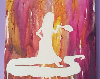 Melted Crayon Art- Rapunzel silhouette from Tangled