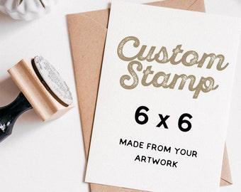 "Custom Clear Rubber Stamp 6"" x 6"", Custom Logo Stamp, Custom Wedding Stamp, made from your artwork"