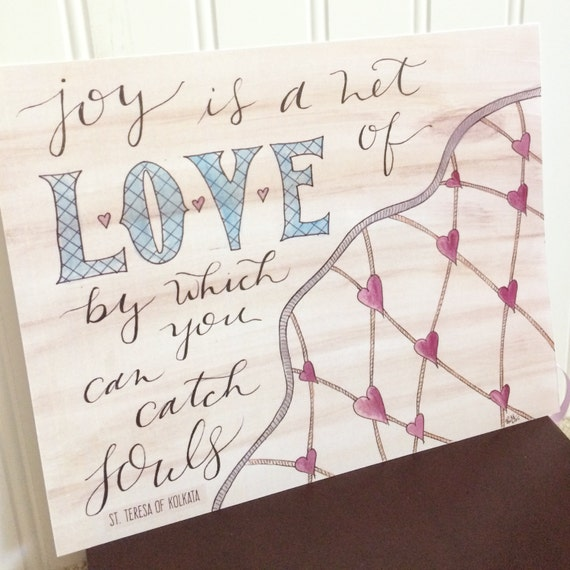 "Joy Is A Net of Love Watercolor & Handlettering 8x10"" Print * Saint Mother Teresa of Calcutta Quote * Catholic Christian * Home Decor * Gift"