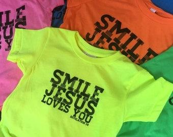 Smile Jesus Loves You--Revelation 1:5 Youth tees