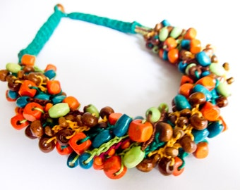 Crochet necklace with colorful and small wooden beads-SOLD