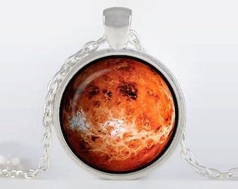 Venus Pendant Venus Necklace Venus Jewelry galaxy universe space planet, red