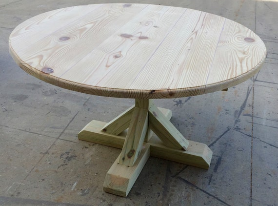 Diy round trestle table by onpointwooddesign on etsy for Diy round farmhouse table plans