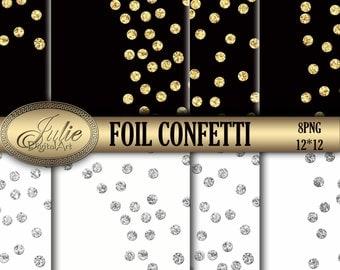 Confetti borders clipart Confetti clipart foil Confetti gold and silver Glitter polkadots border overlay Gold glitter confetti overlay png