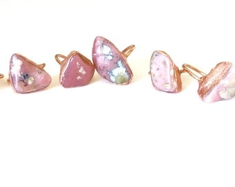 Pink Peruvian Opal and Copper Electroformed Rings /// Raw Stone Ring /// Heart Chakra Stone Ring /// Boho Jewelry