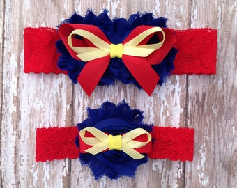 Superhero Garter Set | Red, Blue, Yellow Superhero Wedding Garters | Bridal Garter and Toss Garter