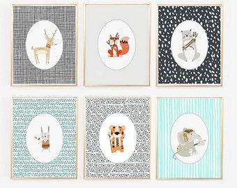 Woodland Animal Prints, Hipster Nursery Print, Woodlands Baby Room, Tribal Nursery Art, Bear rabbit Deer (1600-6)