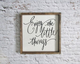 Enjoy the Little Things Wood Sign. Wooden Signs. Rustic Signs. Farmhouse decor. Inspirational sign. Gallery wall art. Rustic home decor.