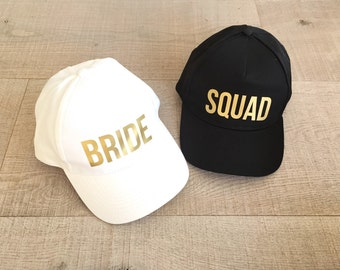 Bachelorette hat, bride hat, squad hat, bachelorette party hat, bridesmaid hat, custom party hat, hen party hats, wedding party hats,