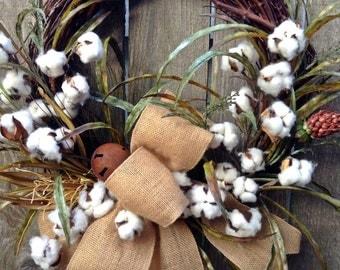 BEST SELLER -Cotton Wreath, Cotton Boll Wreath, Summer Wreath, Primitive Wreath, Rustic Wreath, Front Door Wreath, Everyday Wreath