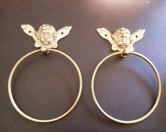 Vintage Brass Angel Cherub Towel Rings Set of Two