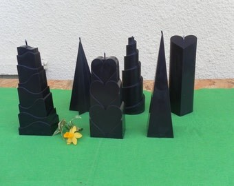 Natural rapeseed wax candles - forms various - black color