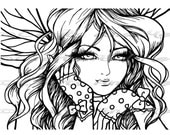 Digital Stamp - Instant Download - Genevieve - Fantasy Line Art for Cards & Crafts by Exclusive Artist Hannah Lynn