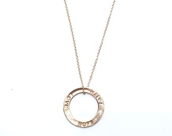 Eternity Circle Necklace/Stamped Eternity Circle Necklace Faith Hope Love/Valentines Gift/Wife Gift/Circle Necklace