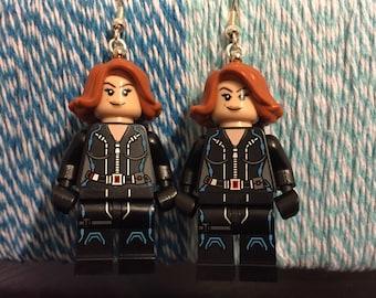 Black Widow Lego Earrings