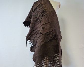 The hot price. Handmade chocolate felted shawl. Perfect for Winter.
