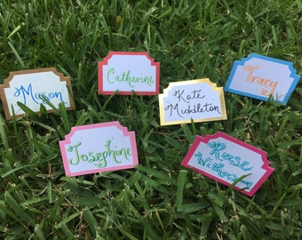 Colorful Personalized Placecards // Wedding placecards // Party placecards // handlettered placecards // calligraphy placecards