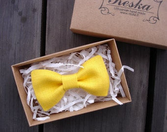 Bright Yellow Bow Tie - Linen Bow Tie - Pre Tied Bow Tie - Bow tie for Boy - Father and Son Bow Tie - Gift for Kid