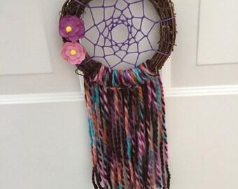 Purple and pink flower dreamcatcher