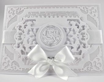 """Sympathy Card / Luxury Handmade / White & Silver / 5"""" x 7"""" / Customisable / Made to Order / Custom Printing Available"""
