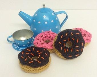 Play Food Crochet Mini Donuts set of 4, Gift, Amigurumi