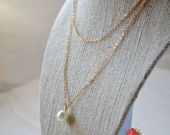 Simulated Pearl Layering Necklace