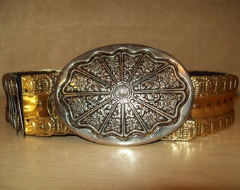"""Vintage~1980s~Metal~Stretchy~Elastic~Scale~Wide~Belt~Womes~Buckle~Size 26""""-38""""~Gold & Silver Tones"""