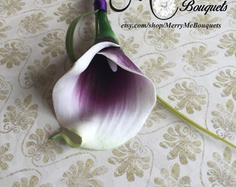 Picasso Lily Boutonniere - Purple and White Boutonniere - Calla Lily Boutonniere - Real Touch Calla Lily Boutonniere - Purple Calla Lily