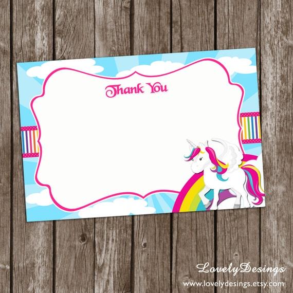 unicorn thank you note rainbow thank you card unicorn