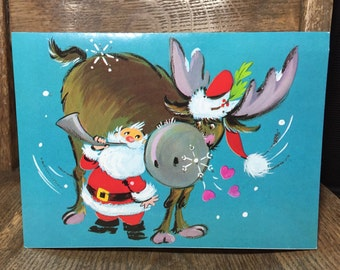 Vintage used Christmas card with cute moose and Santa, Christmas cards, Merry Christmas, kitschy, kitschmas, kitsch, Merry Krismoose